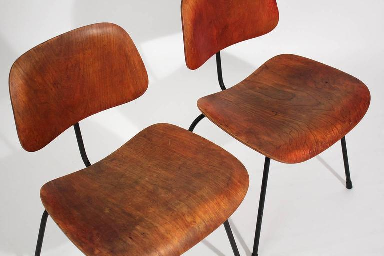 20th Century Early Charles Eames Herman Miller Aniline Red DCM Dining Chairs, Pair For Sale