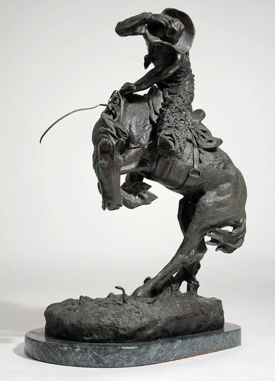 """Mid-20th Century Frederic Remington """"Rattlesnake"""" Bronze Sculpture For Sale"""