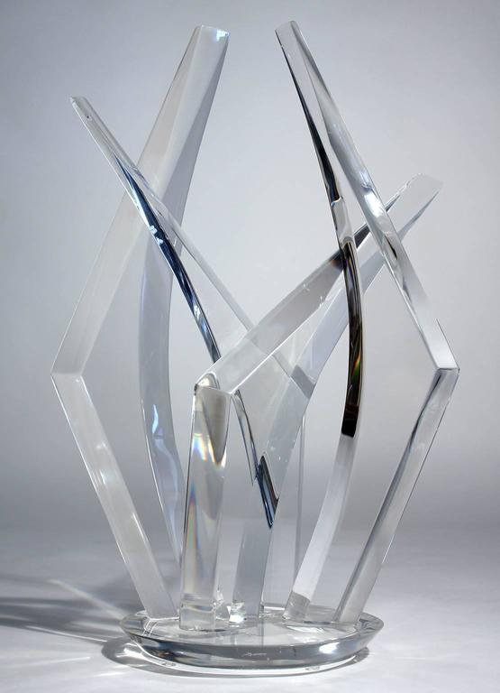 Large Hivo Van Teal Lucite Abstract Sculpture In Good Condition For Sale In San Diego, CA