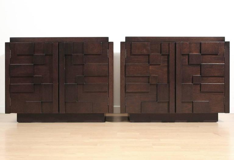 Brutalist, Paul Evans inspired mosaic block patterned pair of nightstands or end tables in a lacquered dark brown finish by Lane. Restored.