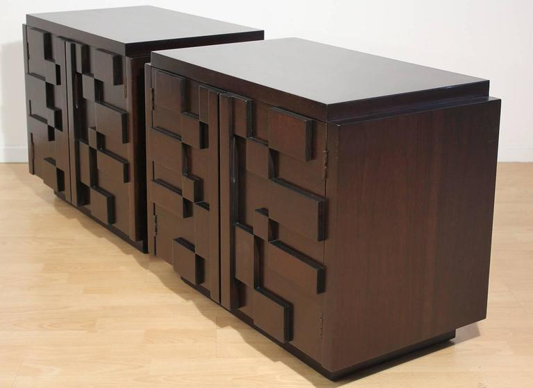 Pair of Lane Modern Brutalist Mosaic Nightstands In Excellent Condition For Sale In San Diego, CA