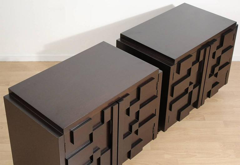 Late 20th Century Pair of Lane Modern Brutalist Mosaic Nightstands For Sale
