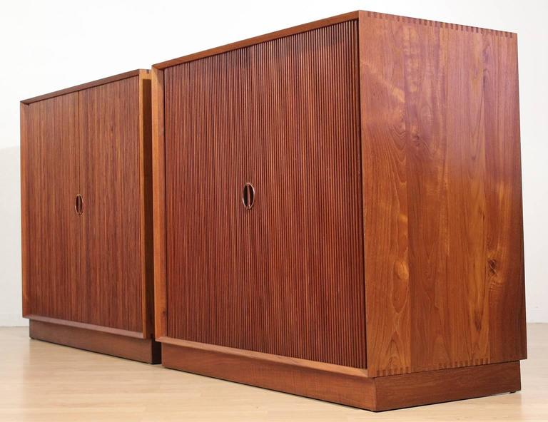 Pair of Teak Tambour Chests Buffets by Peter Hvidt & Orla Mølgaard Nielsen In Excellent Condition For Sale In San Diego, CA