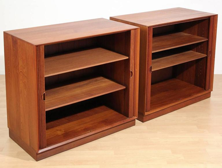 20th Century Pair of Teak Tambour Chests Buffets by Peter Hvidt & Orla Mølgaard Nielsen For Sale