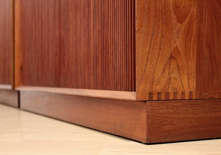Pair of Teak Tambour Chests Buffets by Peter Hvidt & Orla Mølgaard Nielsen For Sale 4