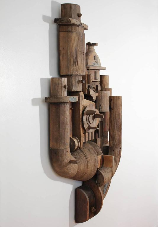 Steampunk Abstract Wood Wall Sculpture Relief For Sale
