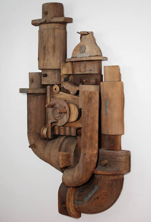 American Abstract Wood Wall Sculpture Relief For Sale