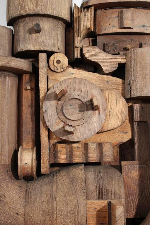Abstract Wood Wall Sculpture Relief For Sale 4