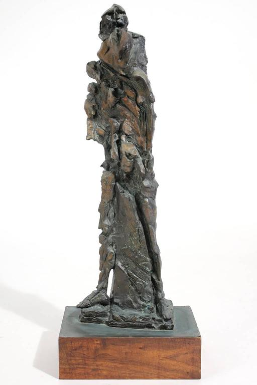 Brutalist Large Abstract Figural Bronze Sculpture For Sale