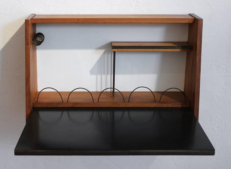 Mid-Century Modern Custom 1950s Wall Mounted Modernist Writing Desk For Sale