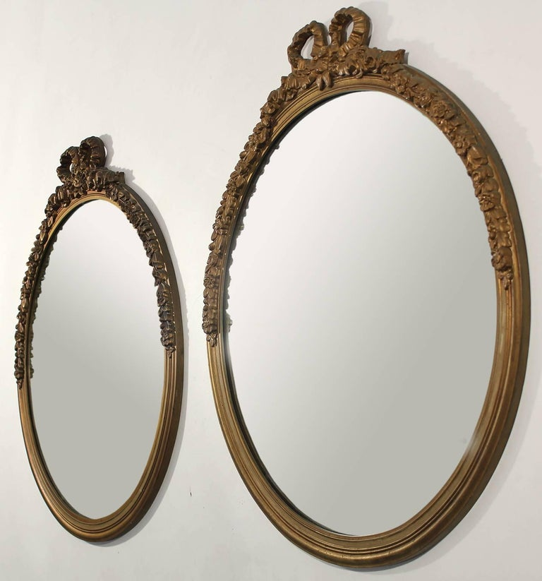 Baroque Revival Antique Pair of Gold Gilt Hand Carved Wood French Baroque Style Mirror For Sale
