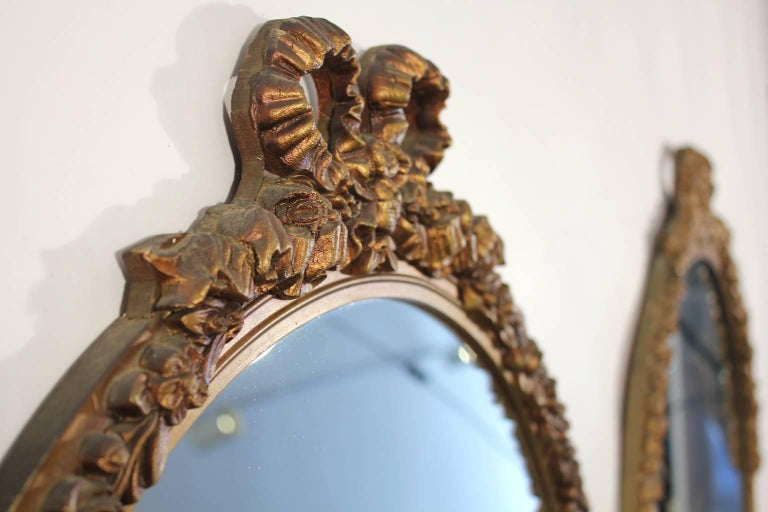 Antique Pair of Gold Gilt Hand Carved Wood French Baroque Style Mirror In Good Condition For Sale In San Diego, CA