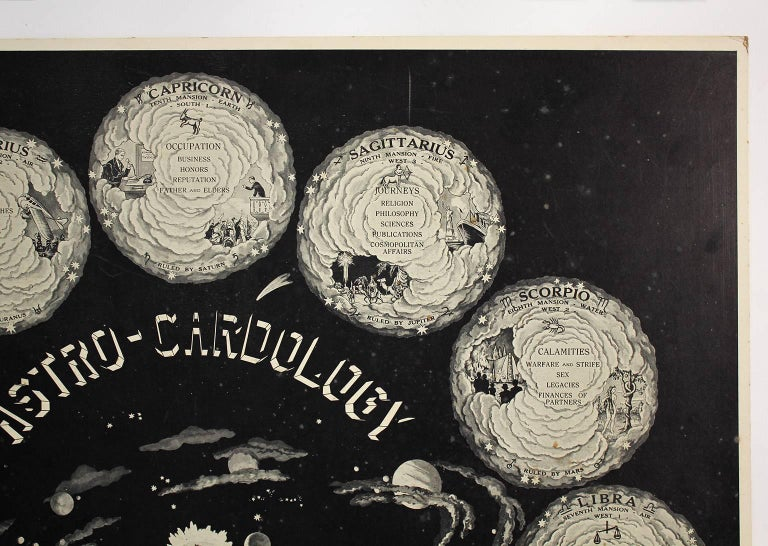 Paper Art Deco 1934 Astro Cardology Zodiac Sign Print Poster by Jan Eric For Sale