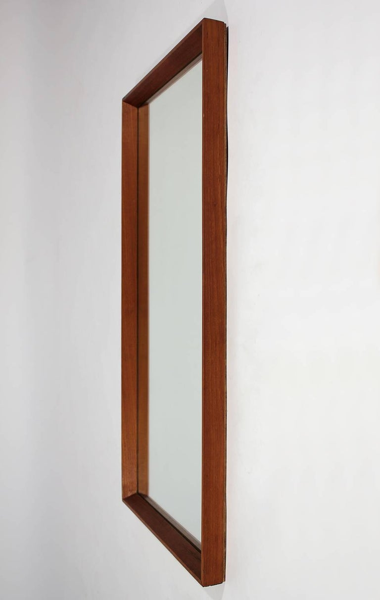 Mid-Century Modern Modernist Danish Teak Mirror For Sale