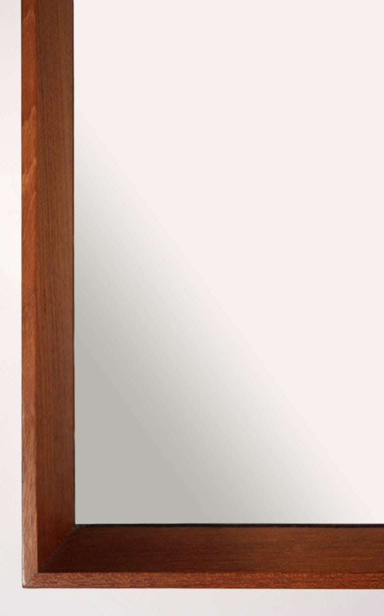 Modernist Danish Teak Mirror In Excellent Condition For Sale In San Diego, CA