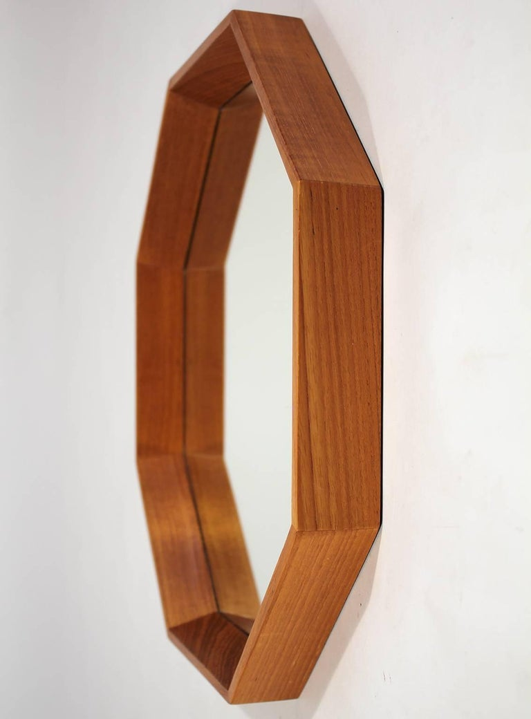 Modernist Danish Teak Octagon Mirror by M.M. Spejle In Excellent Condition For Sale In San Diego, CA