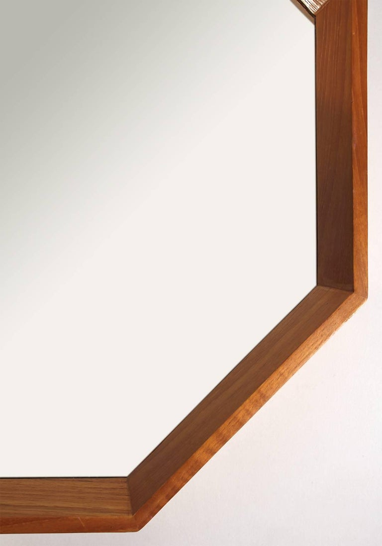 20th Century Modernist Danish Teak Octagon Mirror by M.M. Spejle For Sale