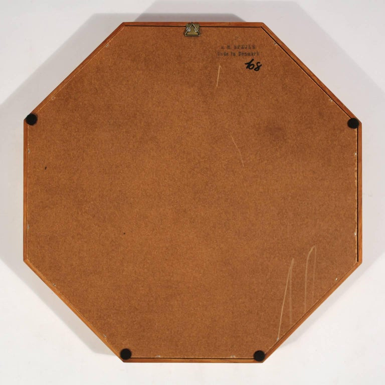 Modernist Danish Teak Octagon Mirror by M.M. Spejle For Sale 2