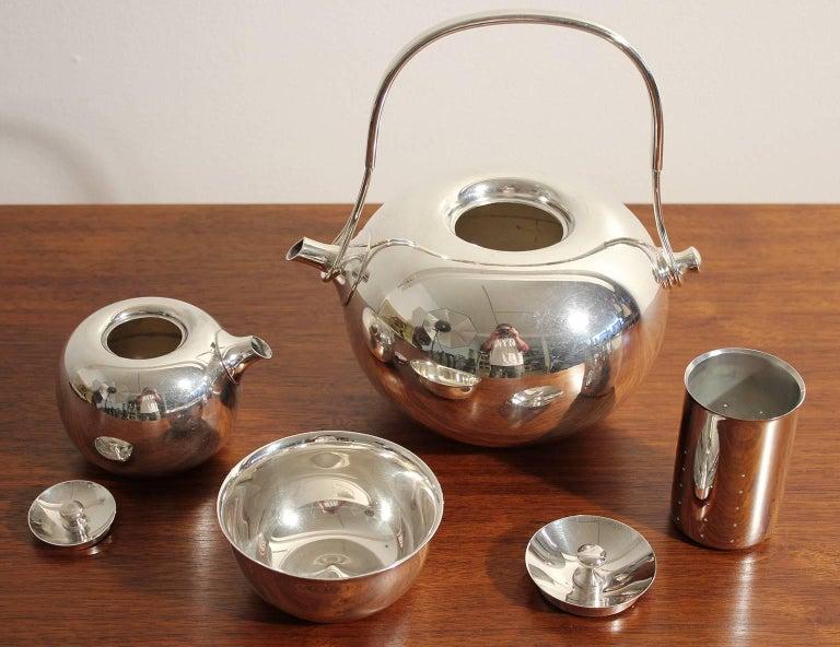 Modernist Sculptural Vivianna Torun for Dansk Silver Plate Tea Set with Tray For Sale 1