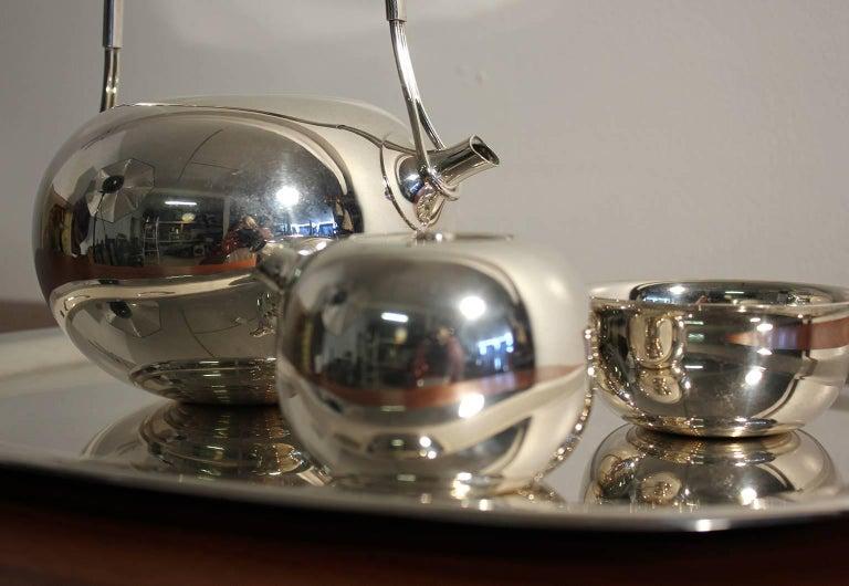 Modernist Sculptural Vivianna Torun for Dansk Silver Plate Tea Set with Tray For Sale 2