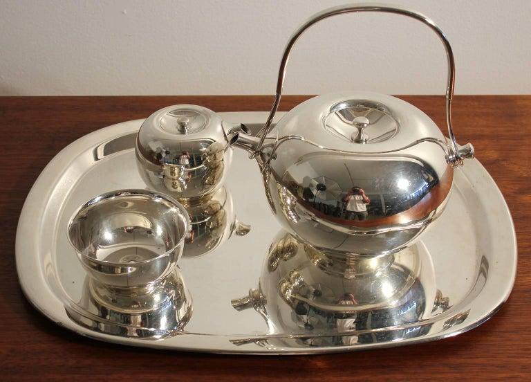 Modernist Sculptural Vivianna Torun for Dansk Silver Plate Tea Set with Tray 10