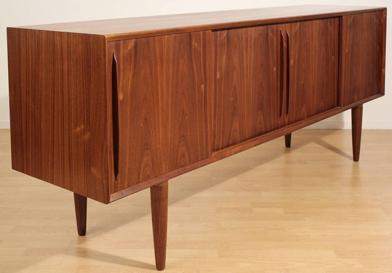 Beautiful Arne Vodder for H.P. Hansen Danish teak sideboard or credenza. The teak wood has a beautiful grain pattern and color. In excellent condition with no issues. Hand oiled and ready to go.