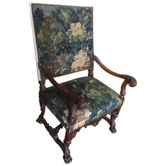 19c Louis XIII Style Armchair with Aubusson Tapestry