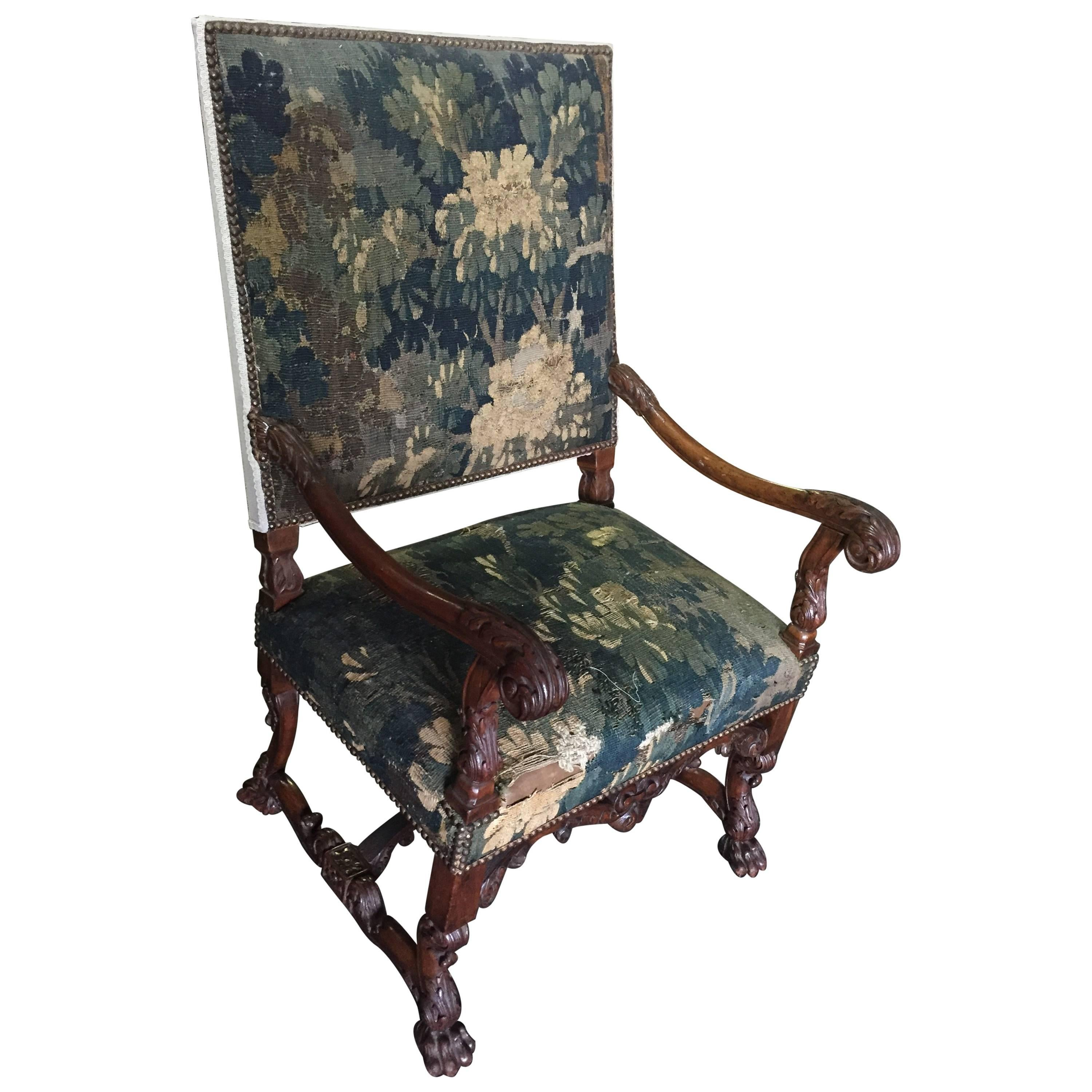 Wonderful 19c Louis XIII Style Armchair With Aubusson Tapestry