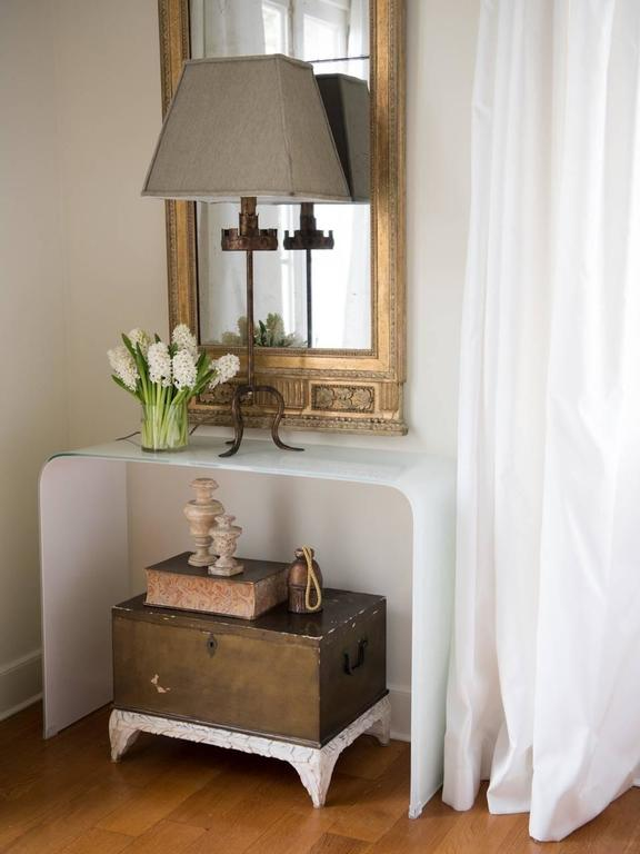 White Waterfall Tables ~ Opaque white waterfall glass console for sale at stdibs