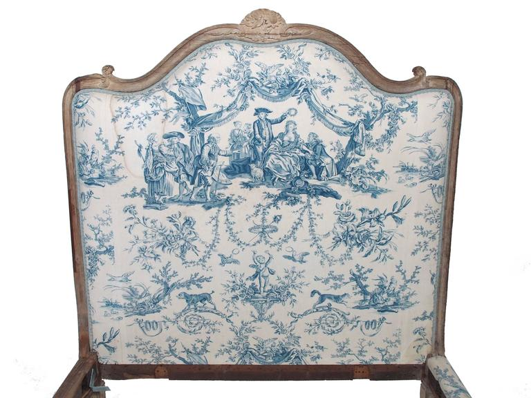 18th Century French Louis Xv Oak Bed Upholstered In Toile