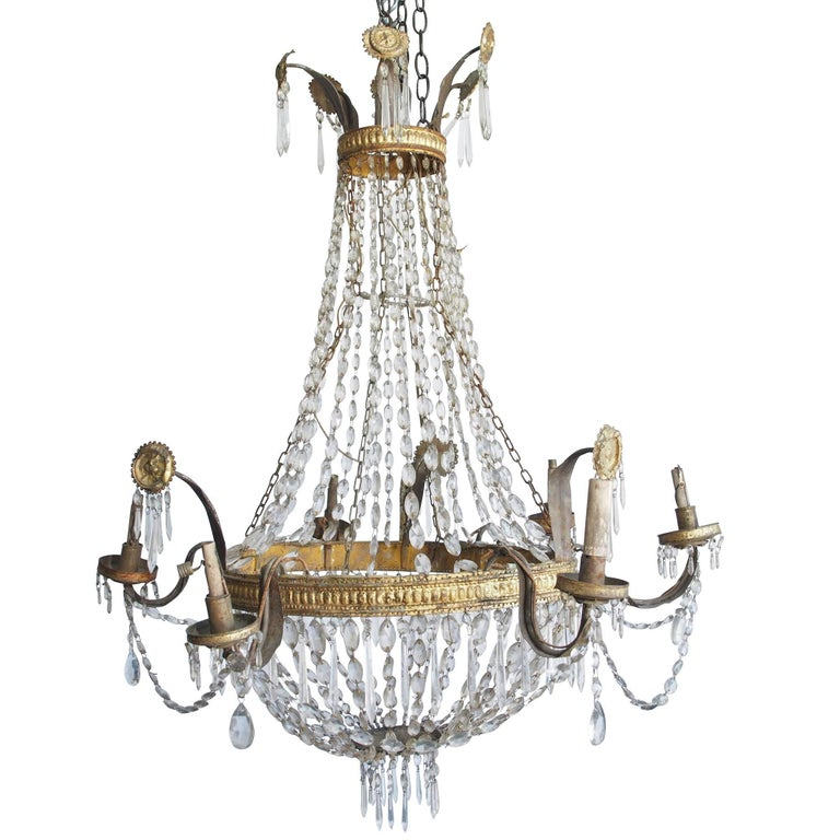 tara shaw lighting. Tara Shaw Antiques - 18th Century Italian Empire Chandelier With Crystal Beading And Gilded Tole Medallions Lighting