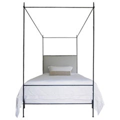 Tara Shaw Maison Louis XVI Style Iron Upholstered Canopy Bed, King
