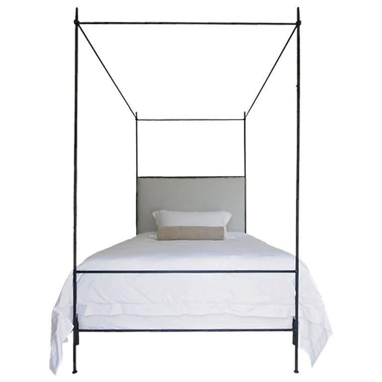 Tara Shaw Maison Louis XVI Style Iron Upholstered Canopy Bed, Twin
