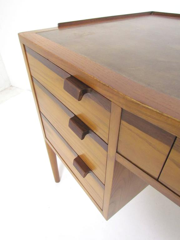 Rosewood Desk With Leather Top By Edward Wormley For