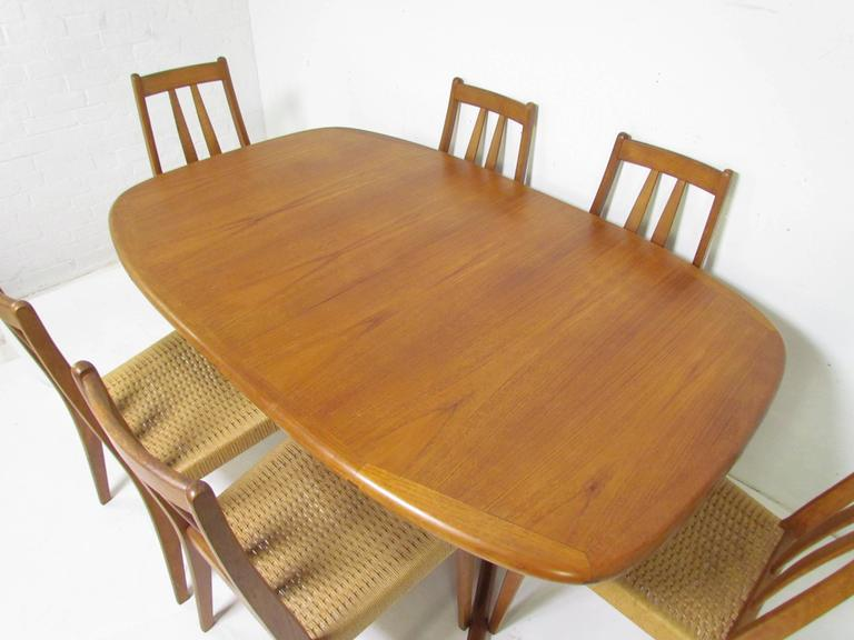 danish teak dining set expandable oval table and six