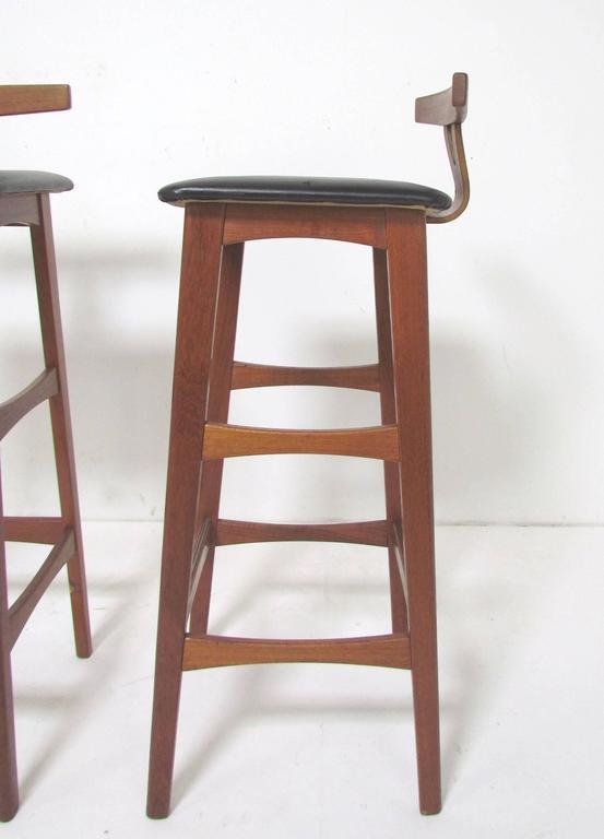 Danish Teak Bar And Set Of Three Stools By Erik Buck For