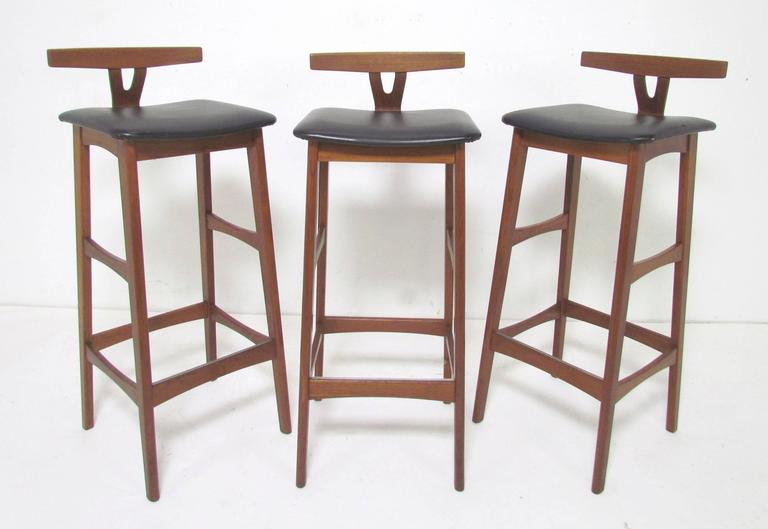 Danish Teak Bar And Set Of Three Stools By Erik Buck For