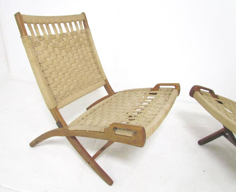 Pair Of Mid Century Modern Rope Folding