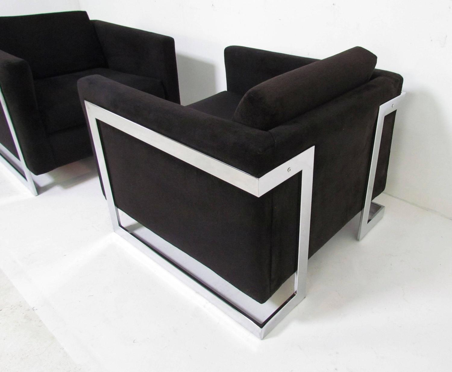 Pair of Cantilevered Chrome Lounge Cube Chairs in the