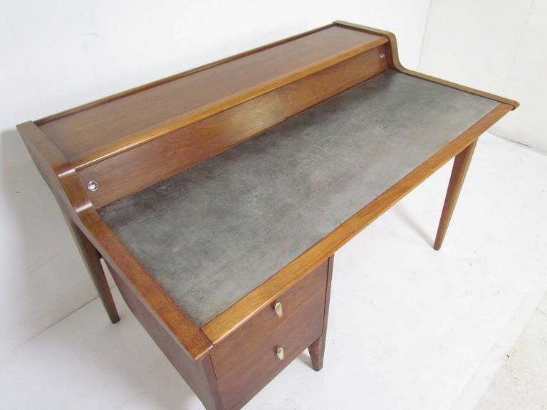 midcentury modern desk with leather top by john van koert for drexel profile 3