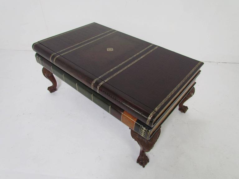 Mid Century Modern Maitland Smith Stacked Leather Book Form Coffee Table  For Sale