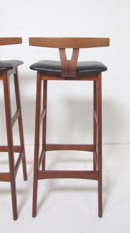 Set Of Three Danish Teak Bar Stools By Erik Buck For