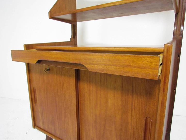 Danish Teak Free Standing Wall Shelving Book Case Unit In