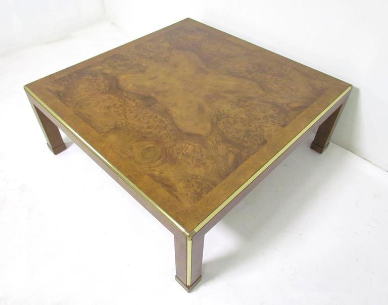Baker Furniture Large Square Burl Wood Coffee Table, Circa 1970s 2