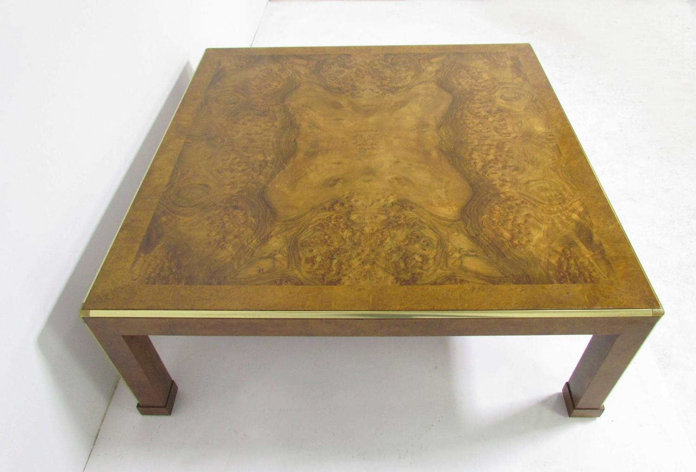 Baker furniture large square burl wood coffee table circa for Large wood coffee table square