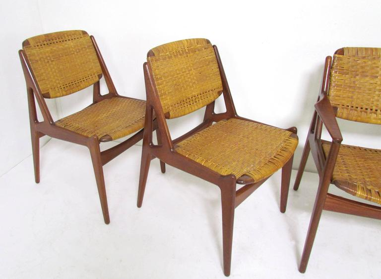 Scandinavian Modern Set Of Five Danish Teak And Cane Dining Chairs By Arne  Vodder For Vamo