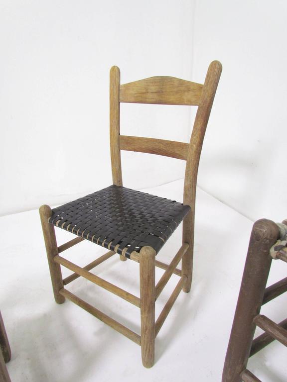 Antique Primitive Folk Art Chair Collection Set Of Six