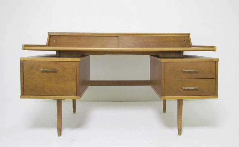 midcentury modern desk with leather top by john van koert for drexel profile 2