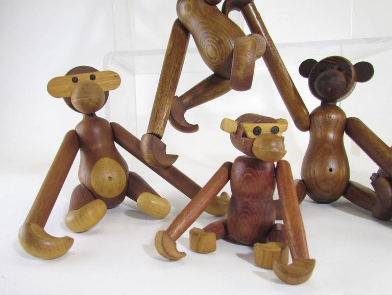 Mid-Century Modern Grouping of Teak Monkey Toys 2