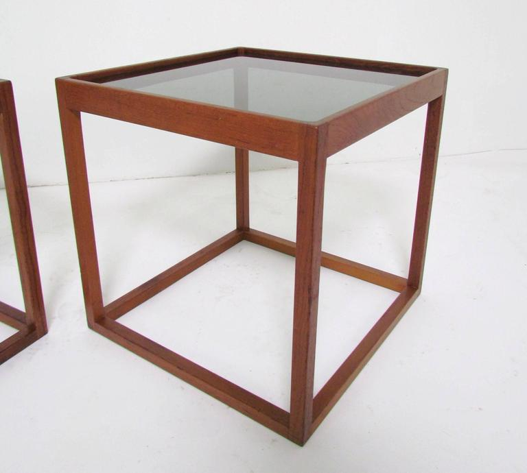 Scandinavian Modern Pair Of Mid Century Danish Teak Cube Form End Tables,  Circa 1960s